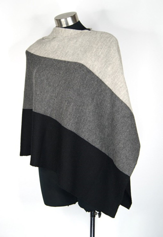 Asymmetric Block Poncho - Black/Grey