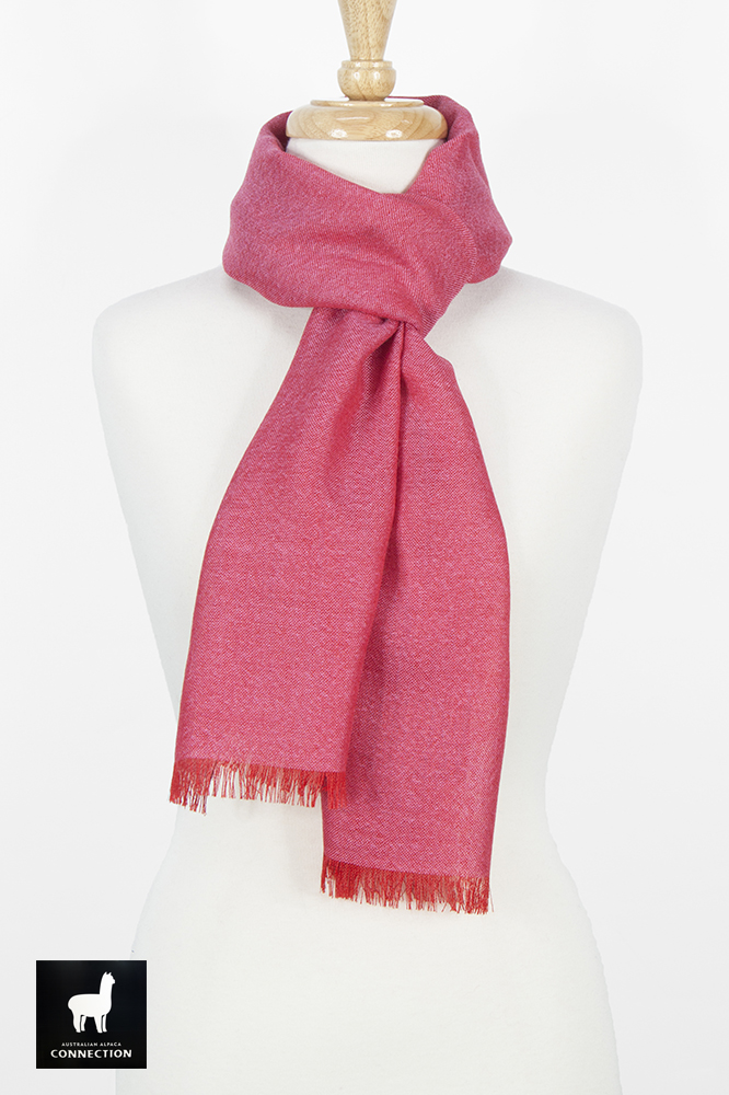 Alpaca & Silk Bi-Color Scarf - Red/Hot Pink