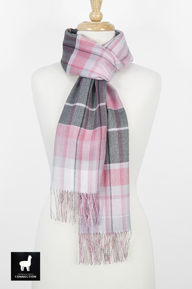 Alpaca & Silk Checked Wide Scarf - Pink/Grey
