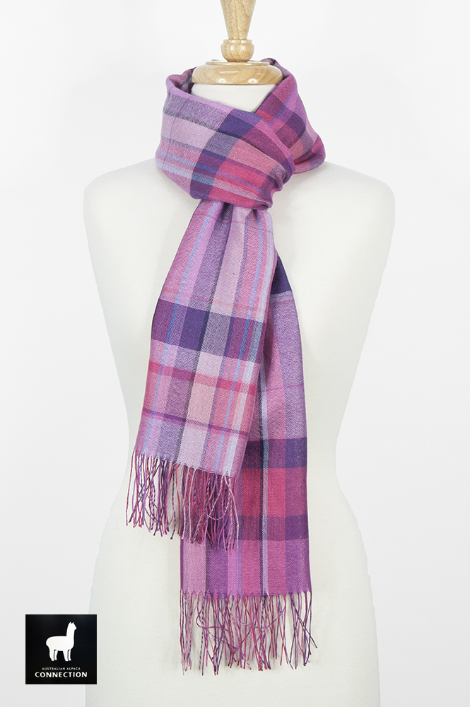 Alpaca & Silk Checked Wide Scarf - Hot Pink/Purple