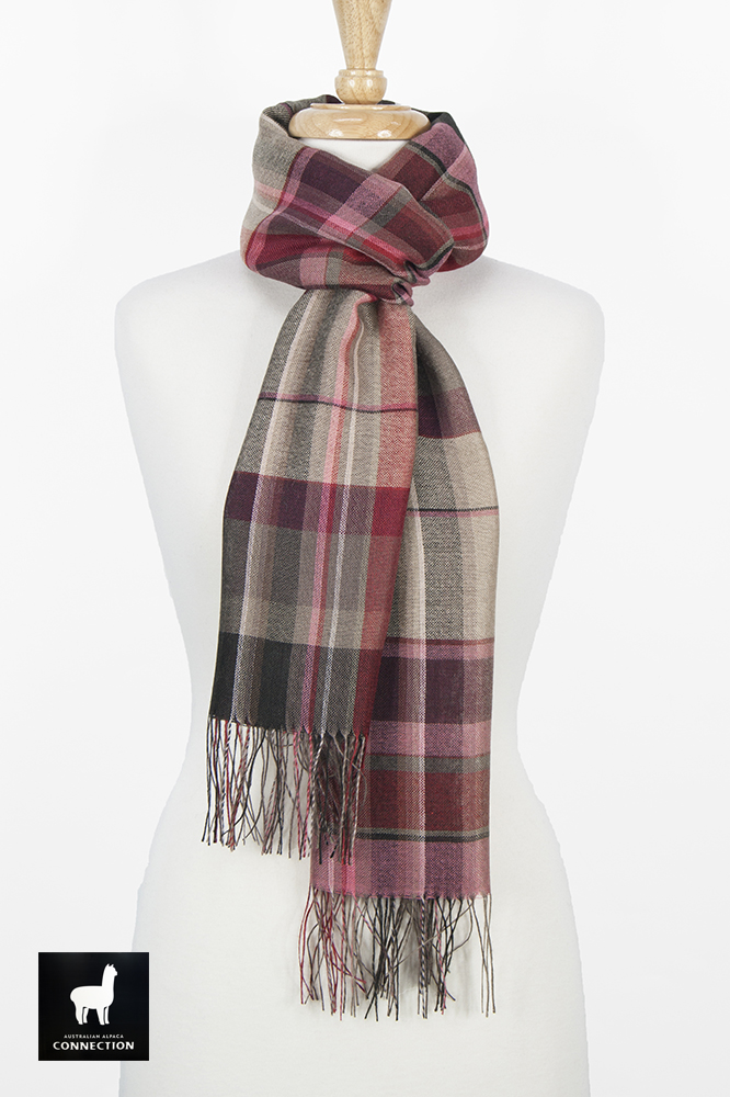 Alpaca & Silk Checked Wide Scarf - Taupe/Red