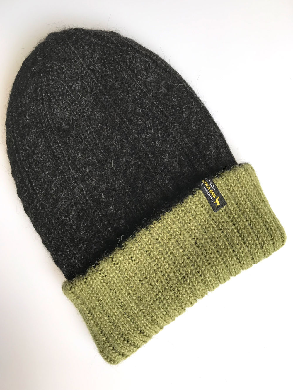 Reversible Hand Knit Alpaca Beanie - Black/Olive