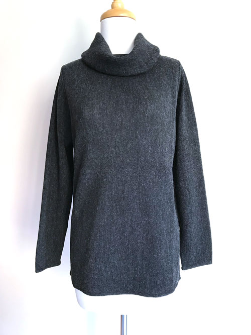 Caletti Roll Neck Links Tunic - Charcoal
