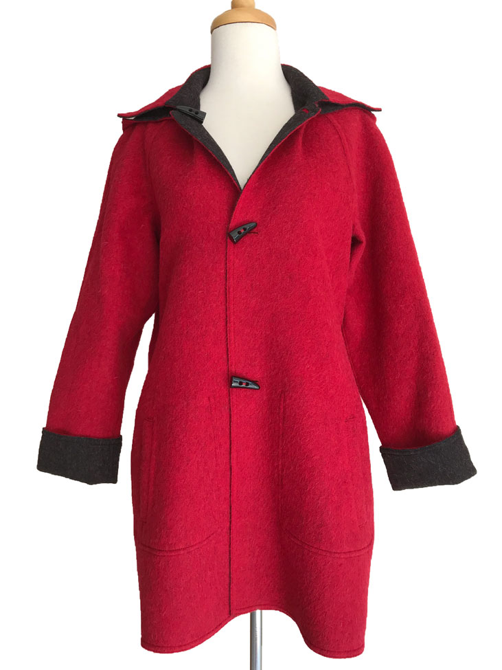 Charcoal & Deep Red Reversible Duffle Coat with Detachable Hood
