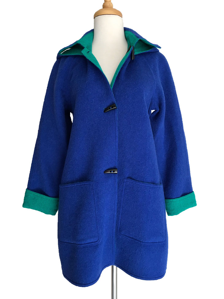 NEW - Bright Blue & Emerald Reversible Duffle Coat with Detachable Hood