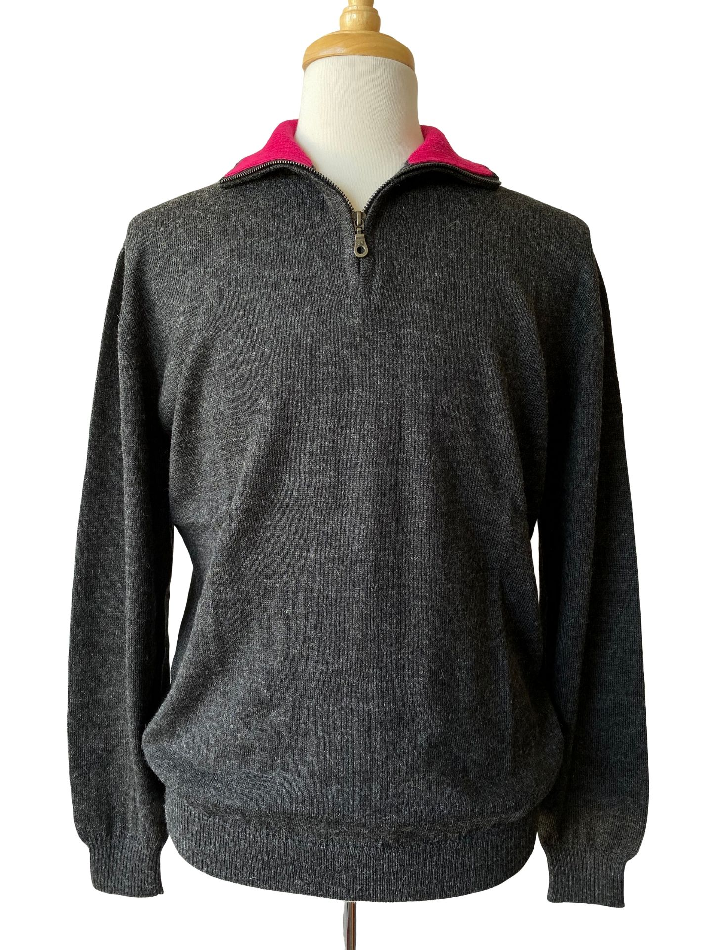 NEW - Brent Half Zip Sweater - Charcoal/Raspberry