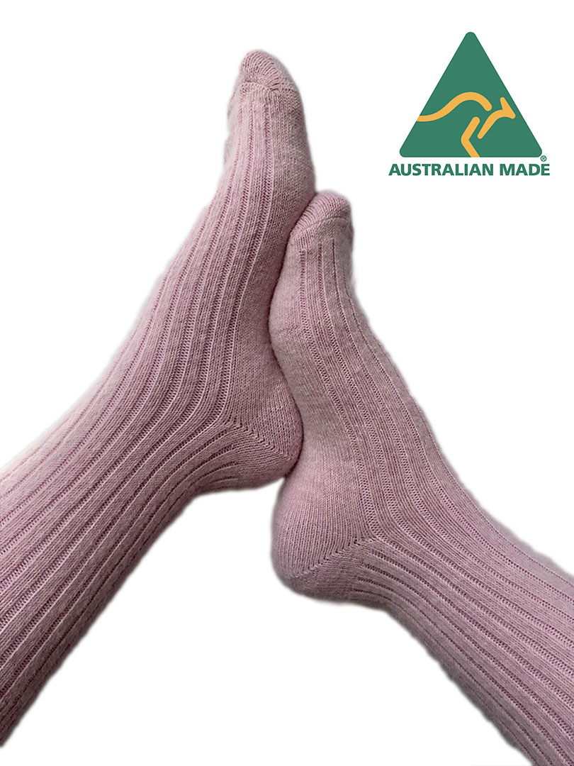 NEW - Alpaca Thick Comfort Sock - Powder Pink
