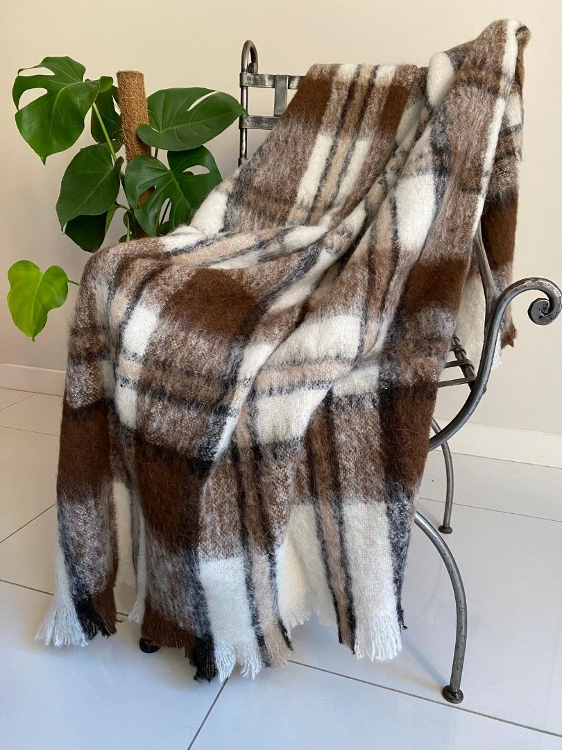 Natural Alpaca Brushed Throw - Apache