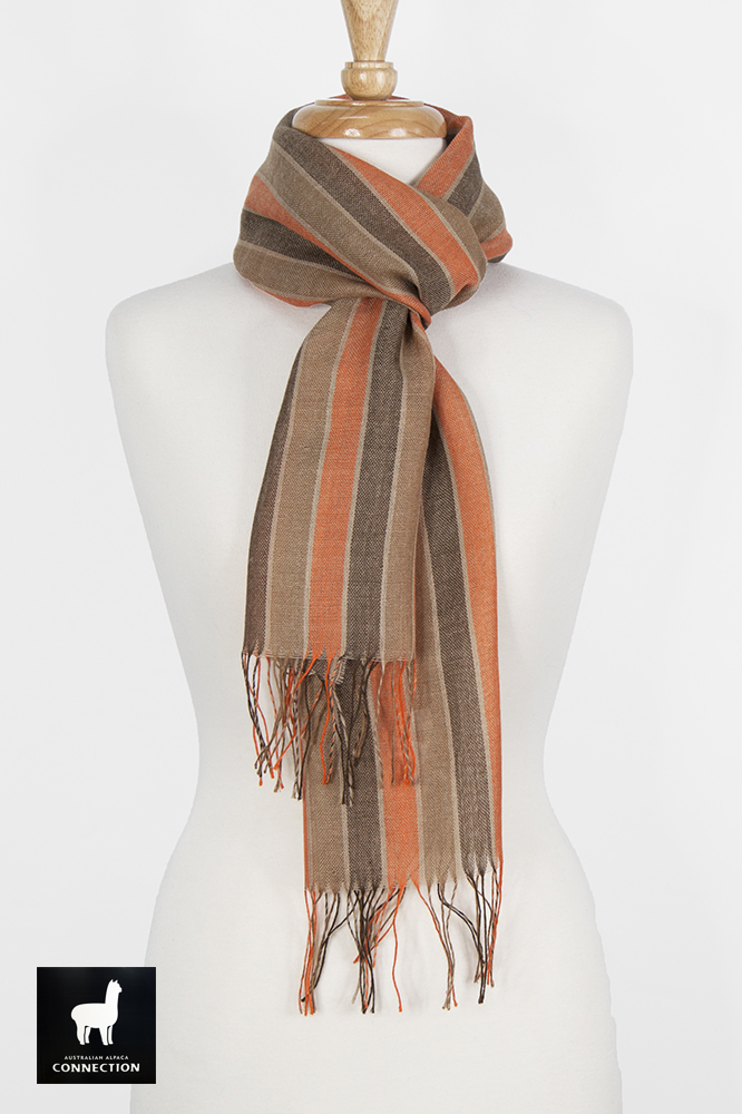 Alpaca & Silk Striped Scarf - Browns