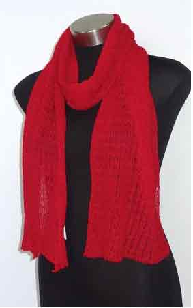 Alpaca Lace Scarf - Red