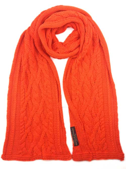 Chunky Cable Knit Scarf - Orange