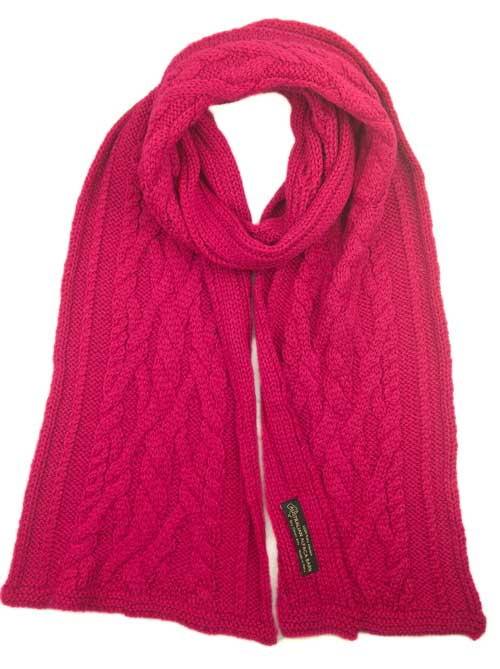 Chunky Cable Knit Scarf - Fuchsia