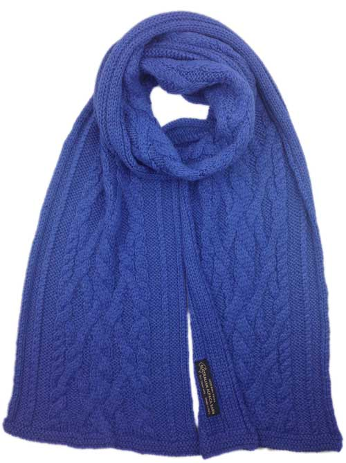 Chunky Cable Knit Scarf - Cobalt