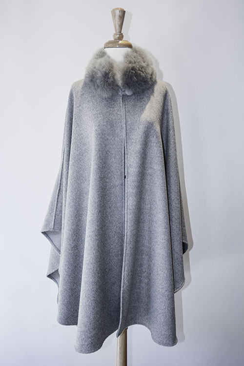 Cape with Fur Collar - Silver Grey