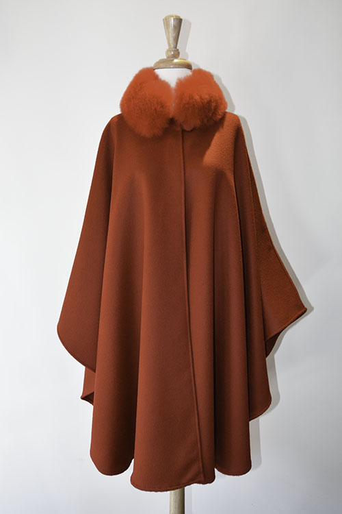 Cape with Fur Collar - Red