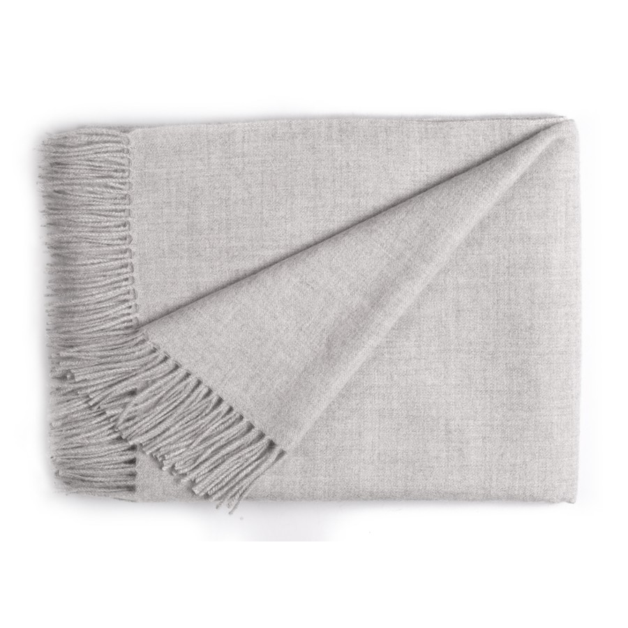 Classic Baby Alpaca Throw - Silver
