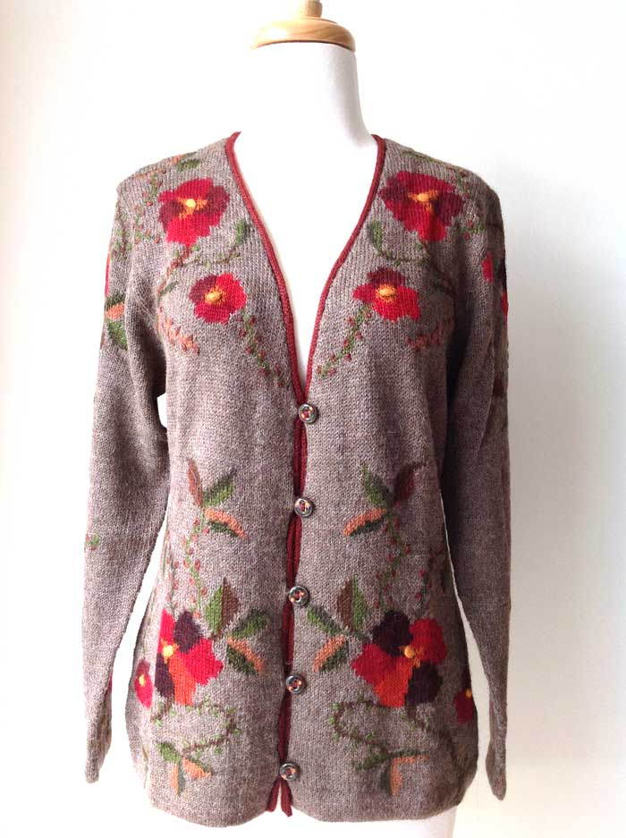 Hand Knitted Cardigan Forest Flowers