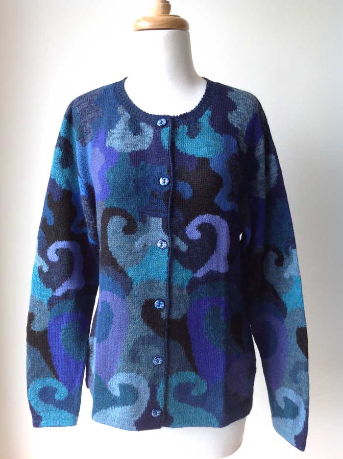Hand Knitted Cardigan Ocean Swirls