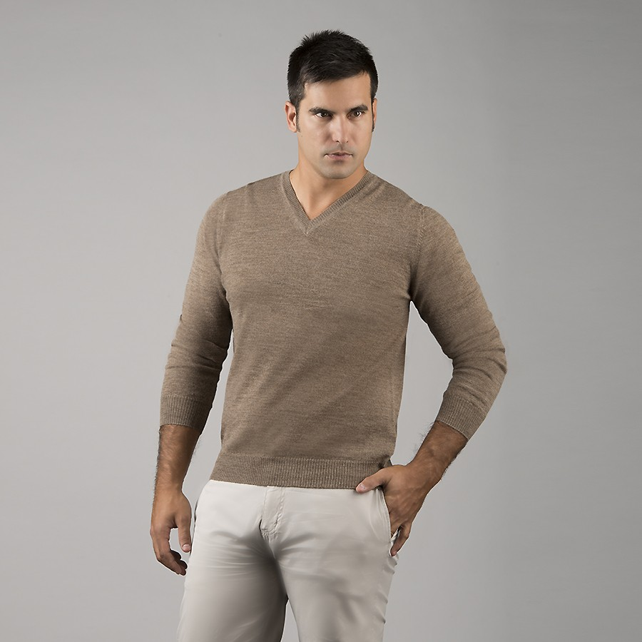 Mens Alpaca Jersey V-Neck Sweater - Taupe