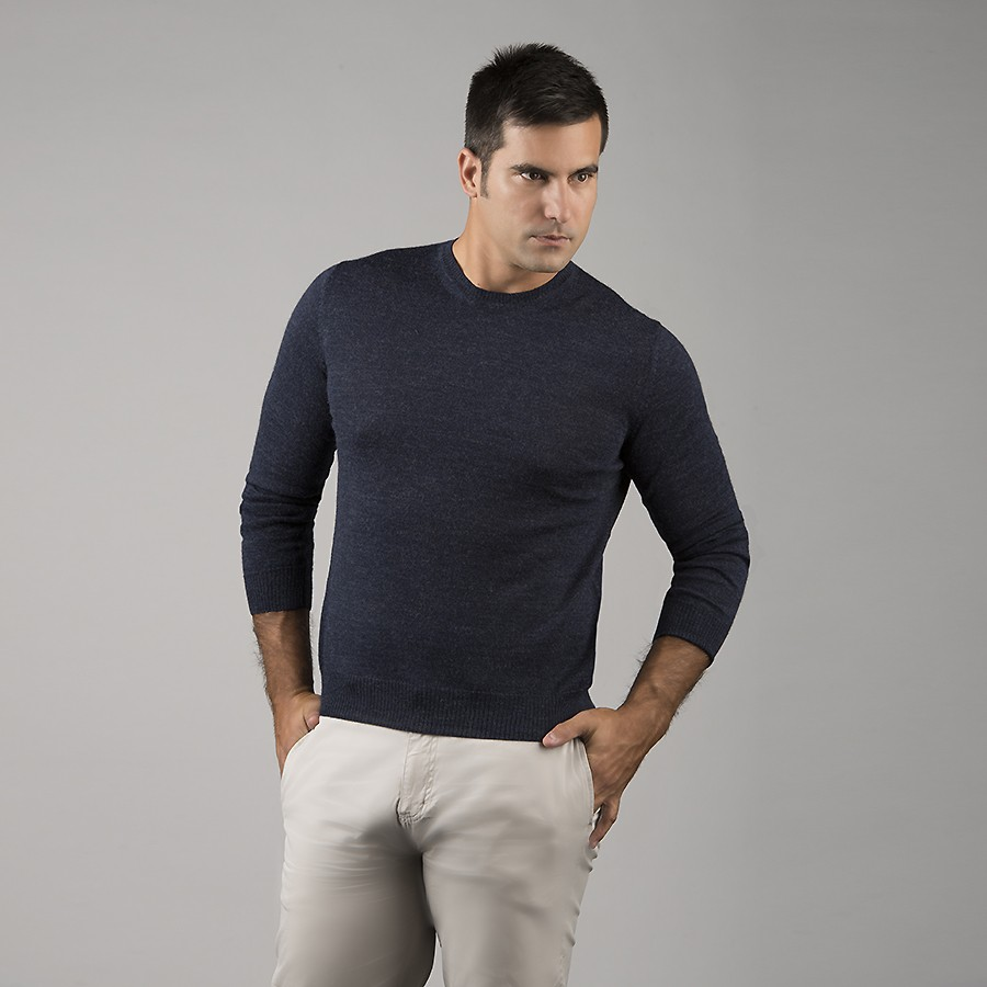 Mens Alpaca Jersey Crew-Neck Sweater - Blue Melange