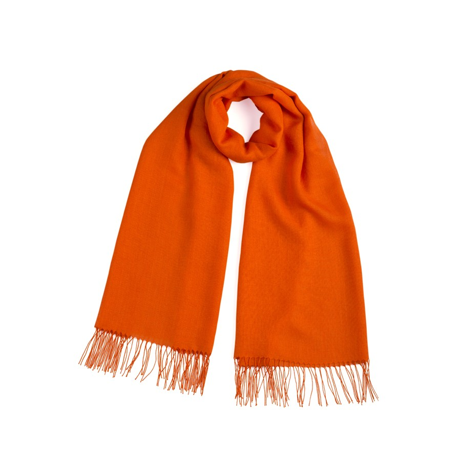 Alpaca & Silk Shawl - Orange
