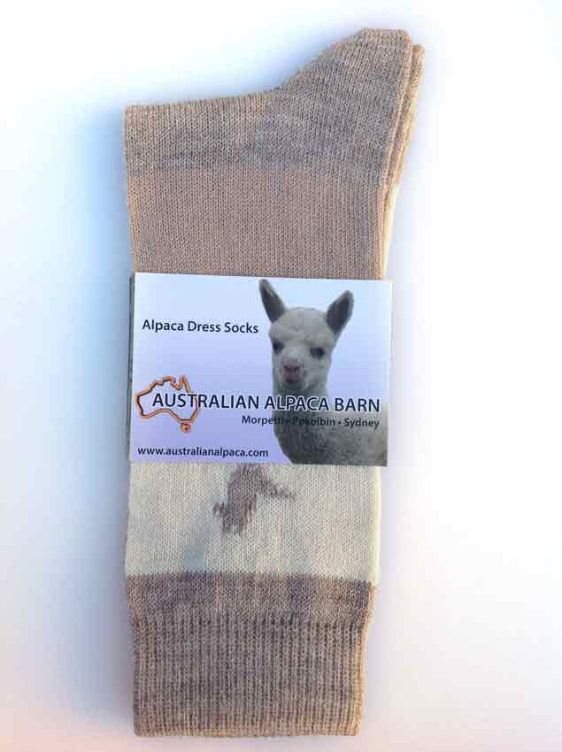 Alpaca & Cotton Dress Socks - Cream Stripe