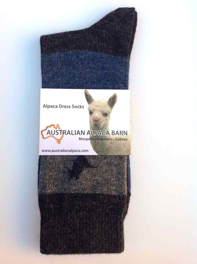 Alpaca & Cotton Dress Socks - Grey Stripe
