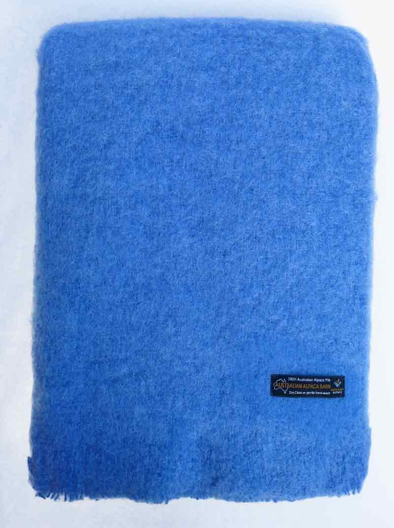 Alpaca Brushed Throw – Provence Blue