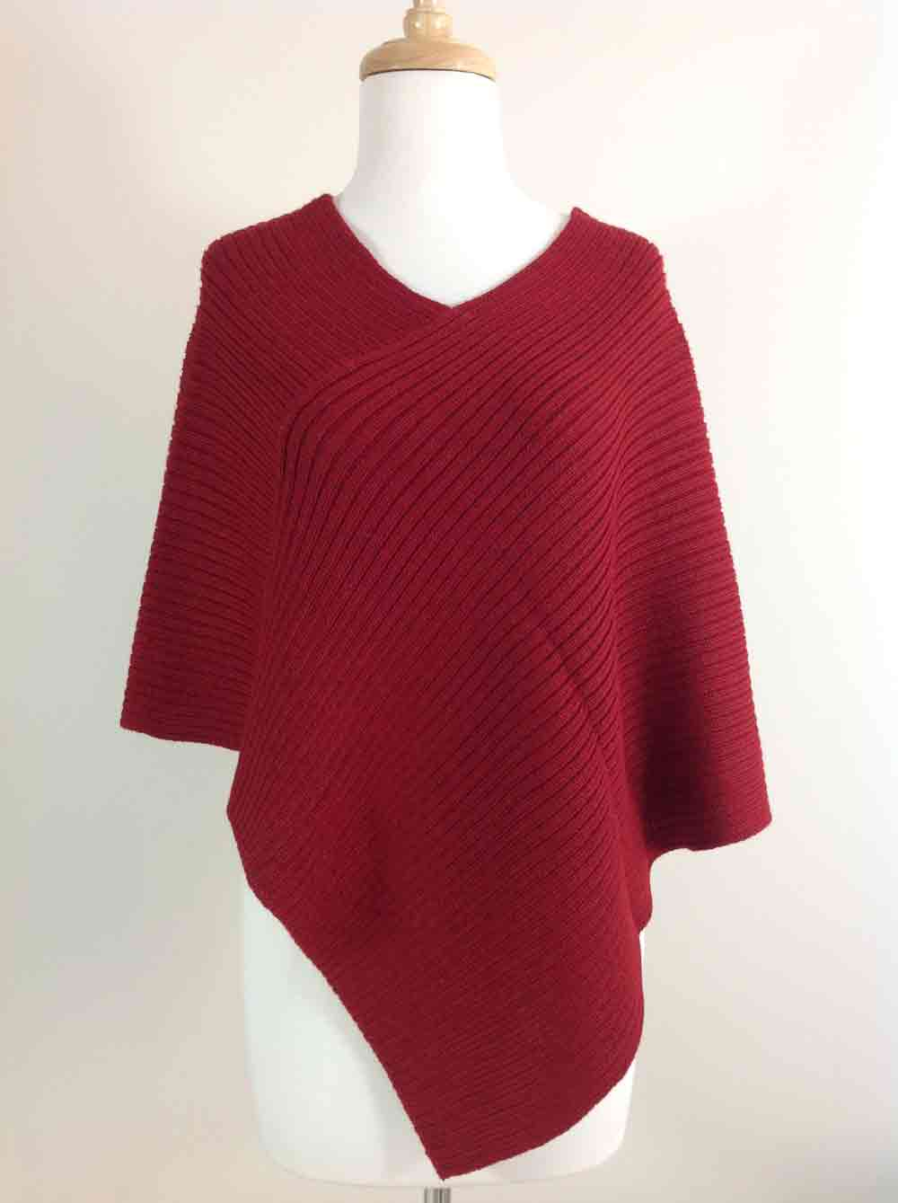 Ribbed Poncho - Cherry Red