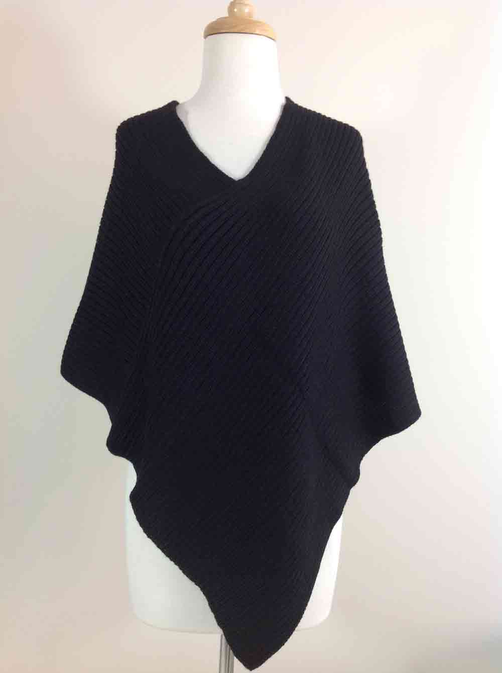 Ribbed Poncho - Black