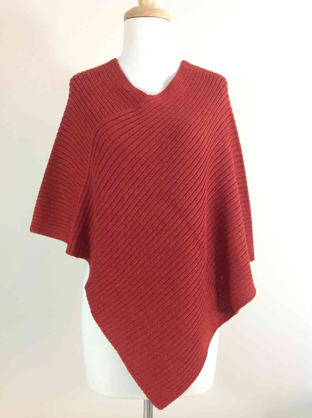 Ribbed Poncho - Rust