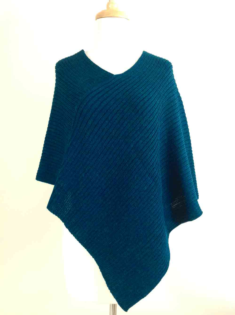 Ribbed Poncho - Teal
