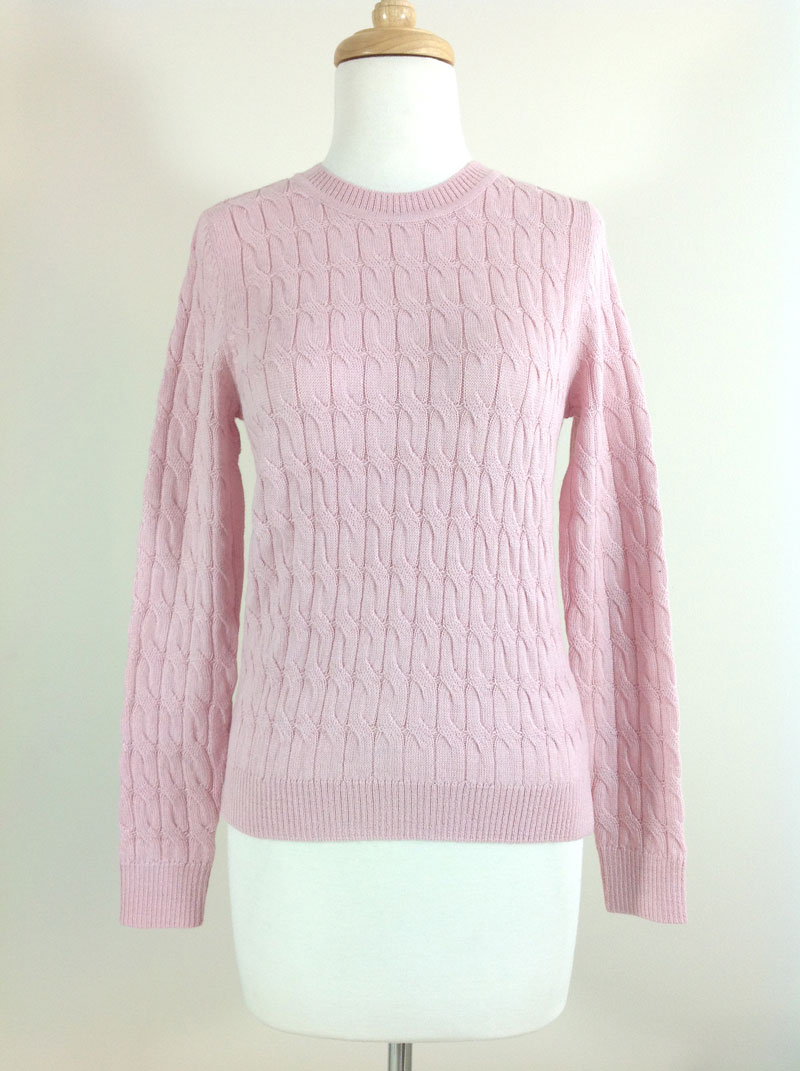 Classic Crew Neck Cable Sweater - Baby Pink