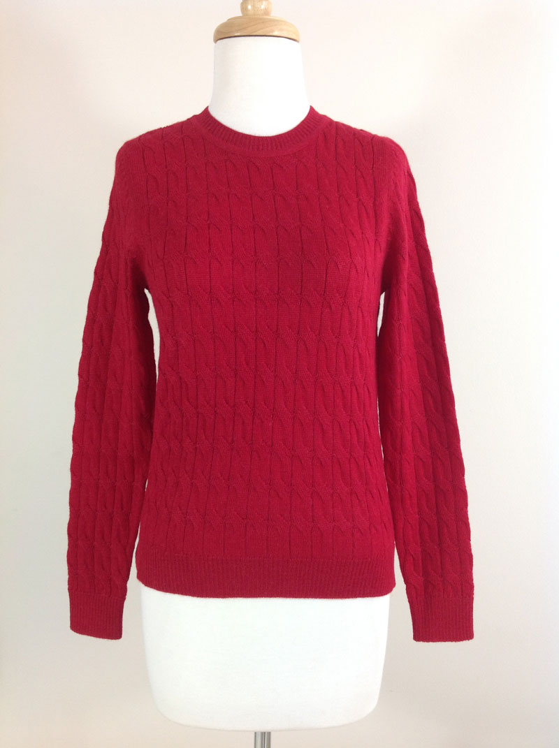 Classic Crew Neck Cable Sweater - Deep Red