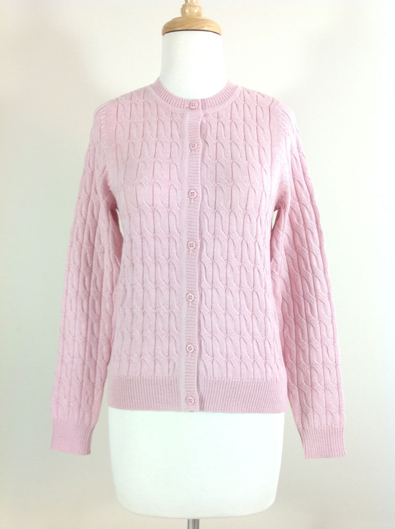 Classic Crew Neck Cable Cardigan - Baby Pink