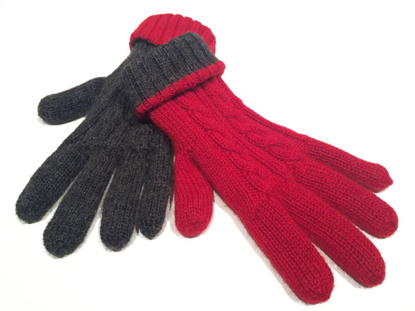 Reversible Gloves - Charcoal & Cherry