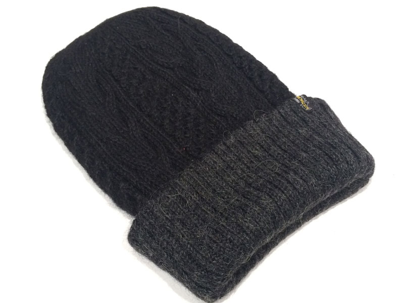 Reversible Hand Knit Alpaca Beanie - Black/Charcoal