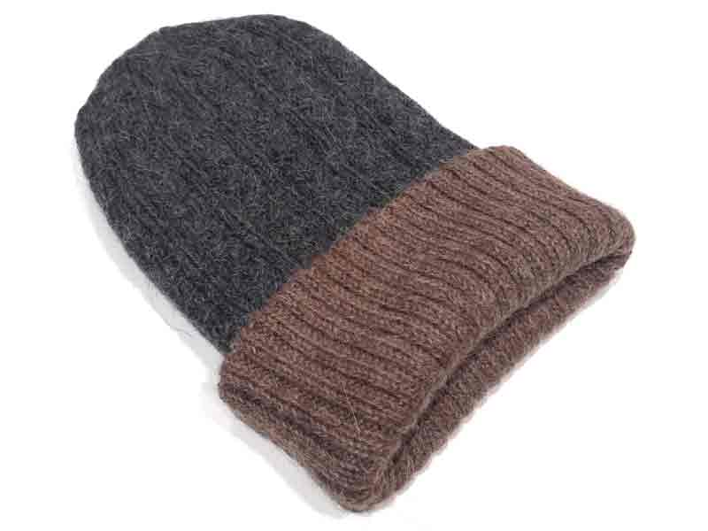 Reversible Hand Knit Alpaca Beanie - Charcoal/Rose Grey