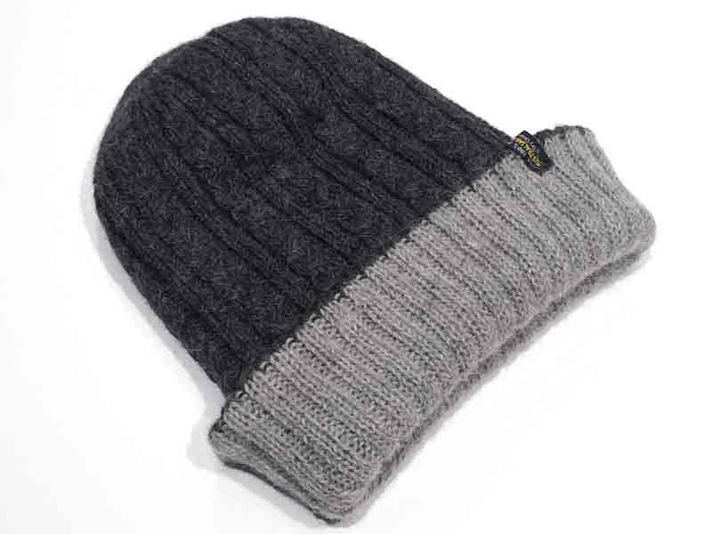Reversible Hand Knit Alpaca Beanie - Silver/Charcoal