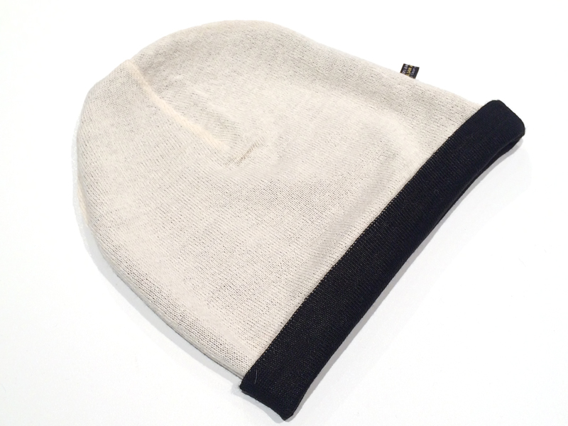 Reversible Jersey Knit Beanie - Black/White