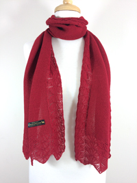 Lace Edge Scarf - Cherry