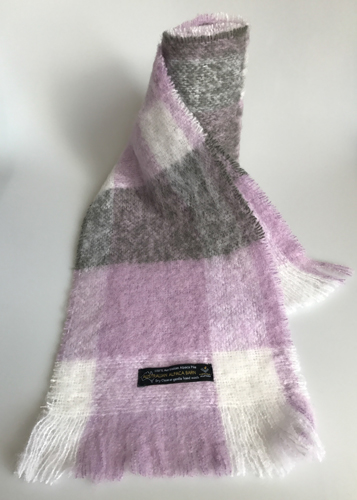 Alpaca Brushed Scarf - Dove/Lilac/Storm Check