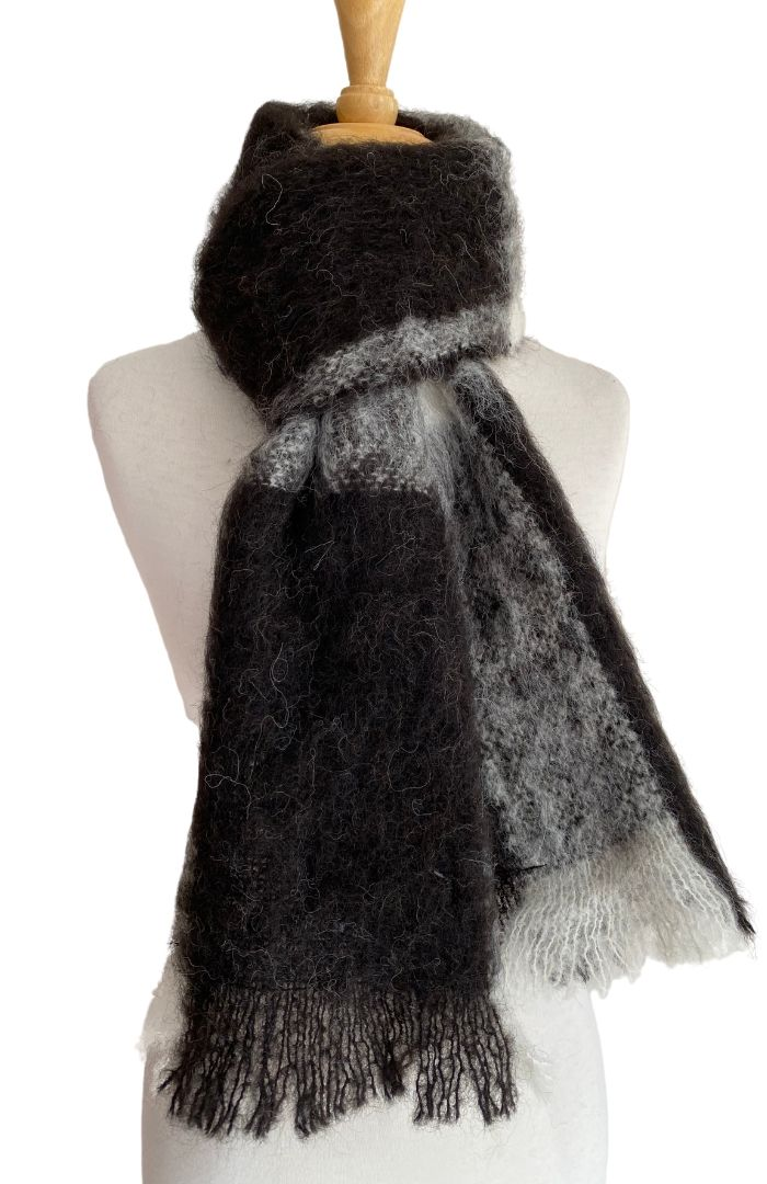 Alpaca Brushed Scarf - Natural Friesian