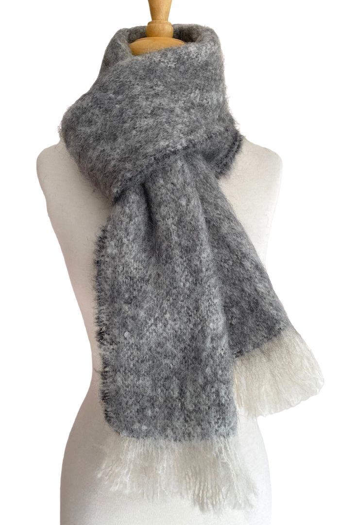Alpaca Brushed Scarf - Natural Grey Merle