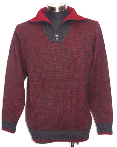 Mens Bicolour Half Zip Sweater - Red