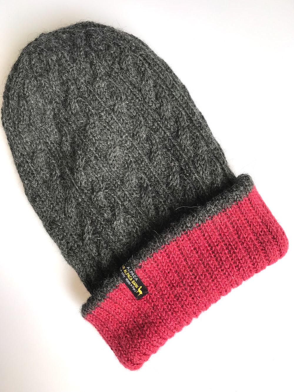 43f0ffe2b07 Reversible Hand Knit Alpaca Beanie - Charcoal Raspberry