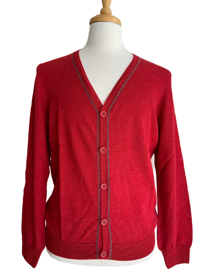 Jersey Contrast Cardigan - Red