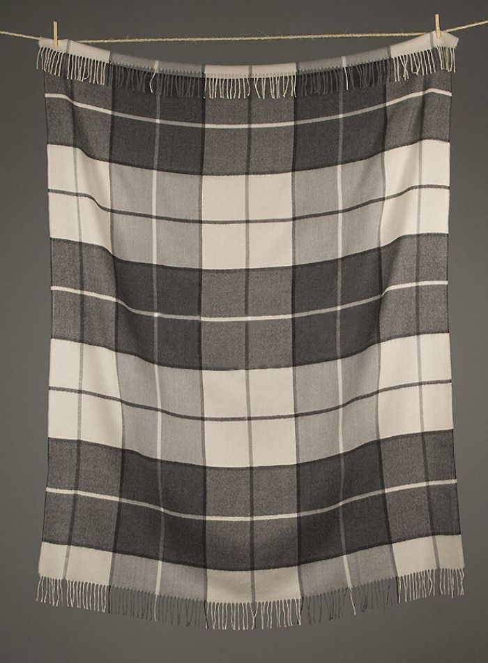 Classic Baby Alpaca Throw - Charcoal Check