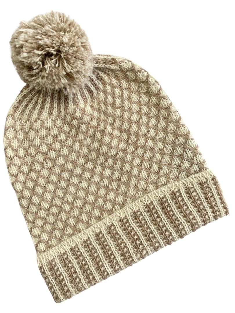 NEW  - Nogal PomPom Beanie Camel/Cream