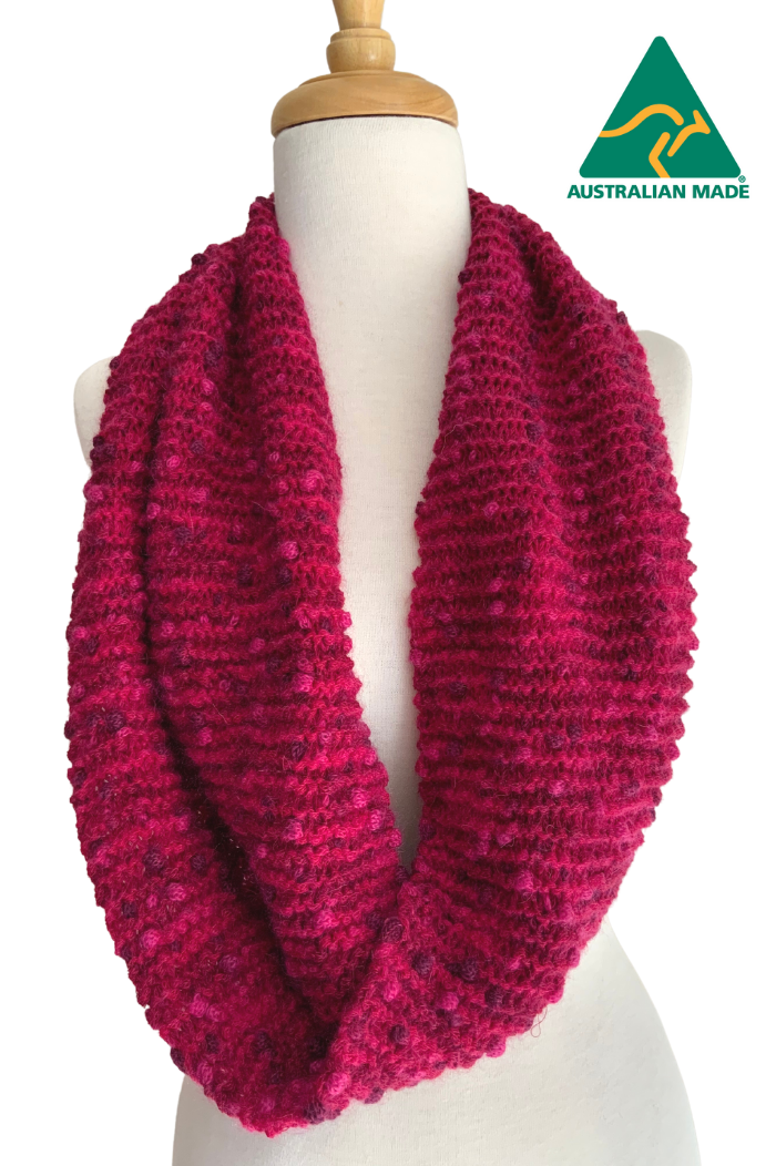 Hand Knitted PomPom Scarf/Cowl/Snood - Fuschia